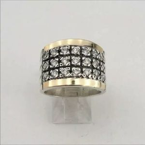 Men's Iced Out Diamond Gold Steel Ring NWT